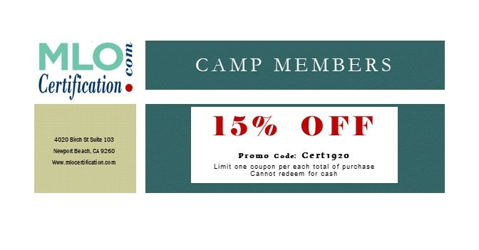 MLO Certification is giving 15% off for Camp members